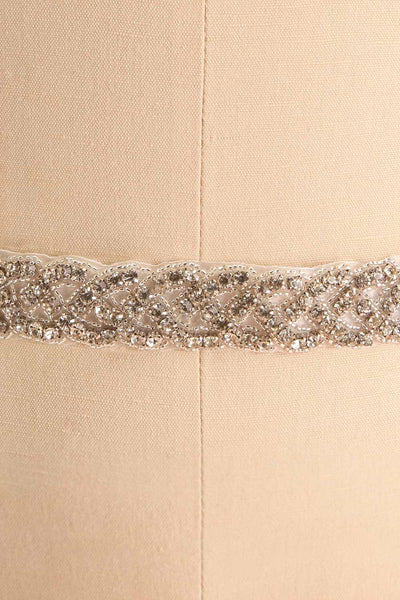 Anastasie Blanc White Ribbon Belt with Crystals | Boudoir 1861 close-up