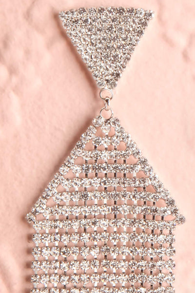 Andao Argent Silver Statement Crystal Pendant Earrings close-up | Boutique 1861