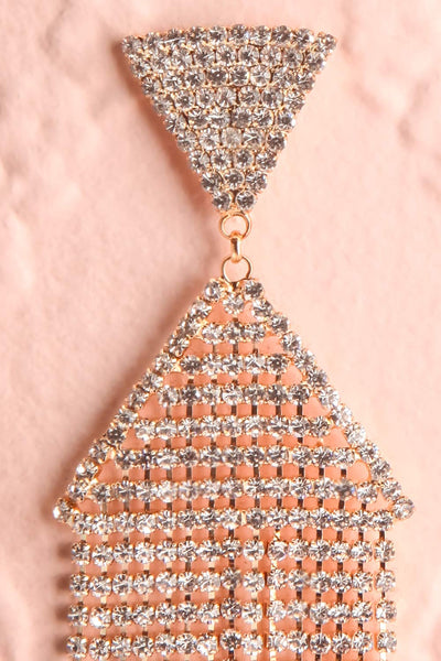 Andao Or Gold Statement Crystal Pendant Earrings close-up | Boutique 1861