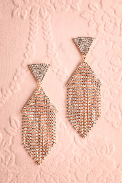 Andao Or Gold Statement Crystal Pendant Earrings | Boutique 1861