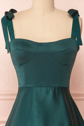 Angelina Emerald Green Satin A-Line Party Dress | Boutique 1861 front close-up