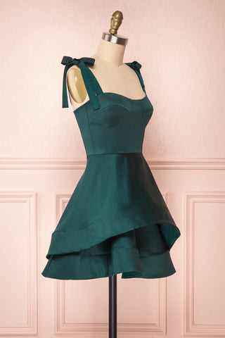 Angelina Emerald Green Satin A-Line Party Dress | Boutique 1861 side close-up