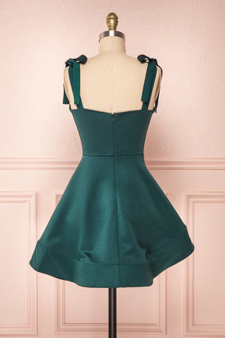 Angelina Emerald Green Satin A-Line Party Dress | Boutique 1861 back view