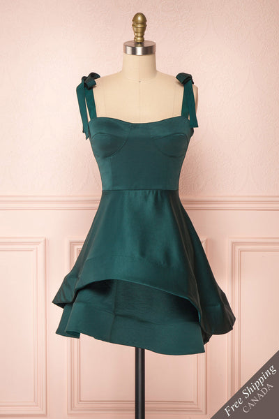 Angelina Emerald Green Satin A-Line Party Dress | Boutique 1861 front view