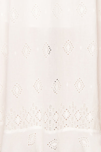 Angeline White Maxi Openwork Bridal Dress fabric | Boudoir 1861