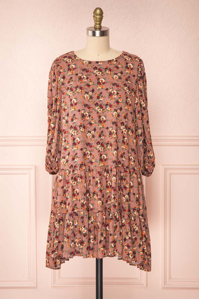Angevina Taupe Floral Dress with Layered Frills | Boutique 1861 front view