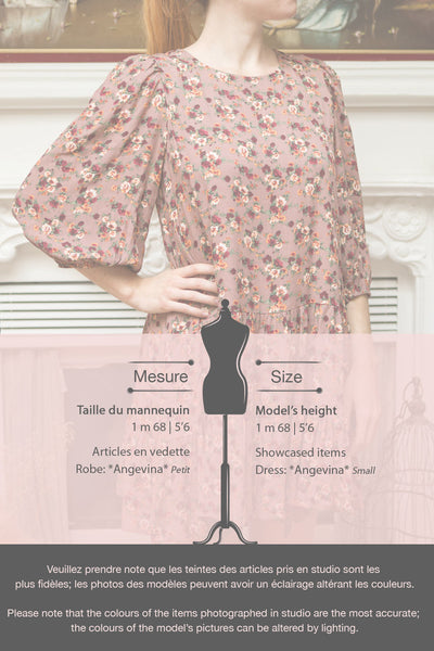 Angevina Taupe Loose-Fit Floral Dress | Boutique 1861 fiche