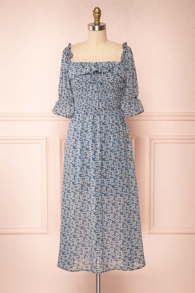 Angie Blue Floral Dress | Boutique 1861 front view