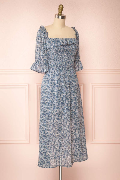 Angie Blue Floral Dress | Boutique 1861 side view