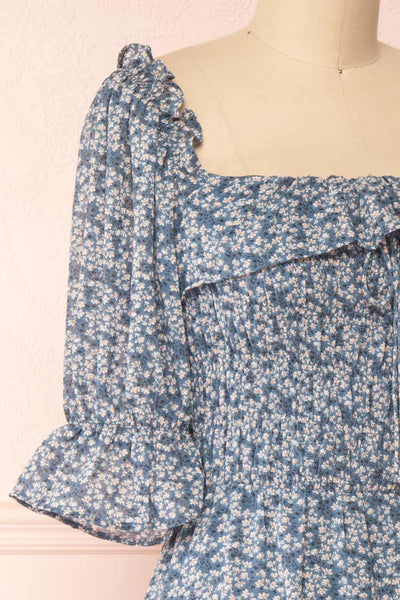 Angie Blue Floral Dress | Boutique 1861 side close-up