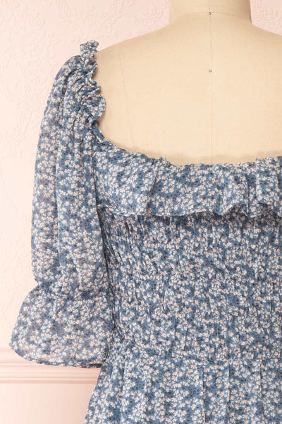 Angie Blue Floral Dress | Boutique 1861 back close-up