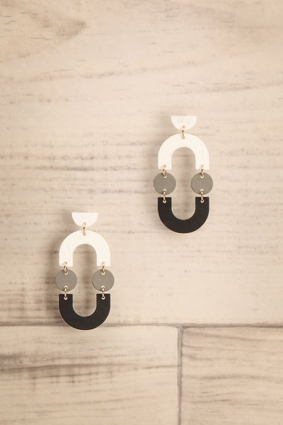 Angri Winter Black, White & Grey Pendant Earrings | La Petite Garçonne
