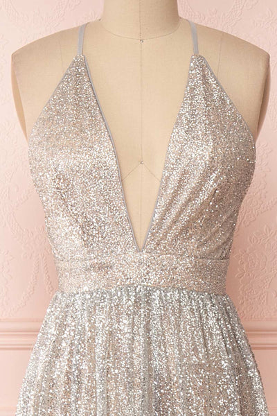 Anice Silver Glittery Dress | Robe Argent | Boutique 1861 front close-up