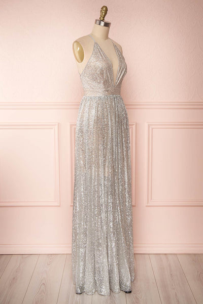Anice Silver Glittery Dress | Robe Argent | Boutique 1861 side view