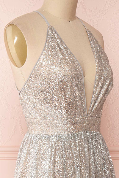 Anice Silver Glittery Dress | Robe Argent | Boutique 1861 side close-up