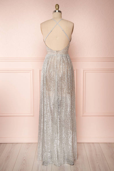 Anice Silver Glittery Dress | Robe Argent | Boutique 1861 back view