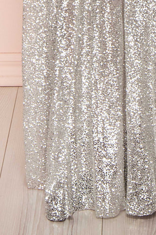 Anice Silver Glittery Dress | Robe Argent | Boutique 1861 bottom close-up