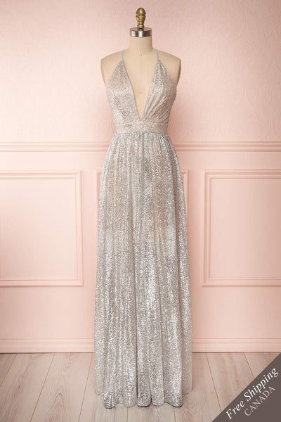 Anice Silver Glittery Dress | Robe Argent | Boutique 1861 front view