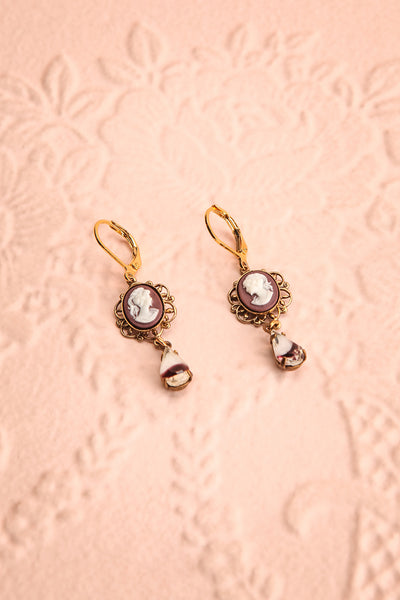 Anicette Ting Brown & Gold Cameo Pendant Earrings | Boutique 1861