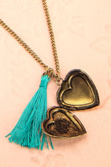 Anima Or - Double golden locket and tassel necklace