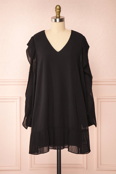 Anisha Black Wide Long Sleeve Dress w/ Frills | Boutique 1861 front view
