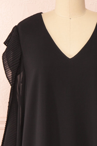 Anisha Black Wide Long Sleeve Dress w/ Frills | Boutique 1861 front close-up