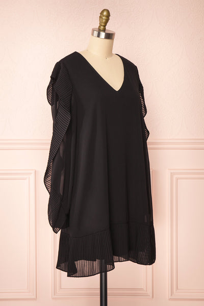 Anisha Black Wide Long Sleeve Dress w/ Frills | Boutique 1861 side view