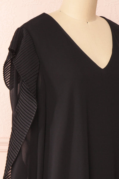 Anisha Black Wide Long Sleeve Dress w/ Frills | Boutique 1861 side close-up
