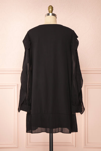 Anisha Black Wide Long Sleeve Dress w/ Frills | Boutique 1861 back view