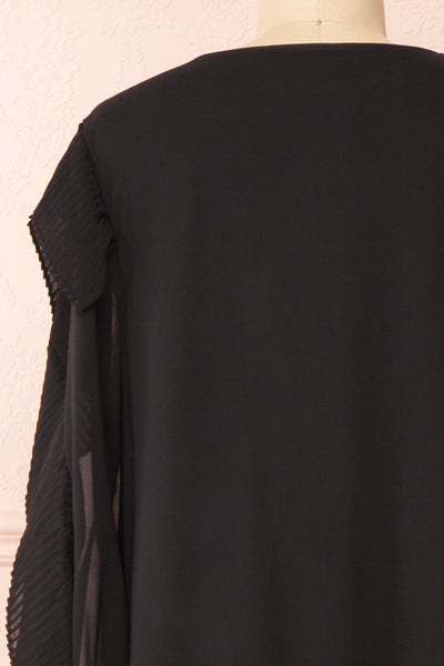 Anisha Black Wide Long Sleeve Dress w/ Frills | Boutique 1861 back close-up