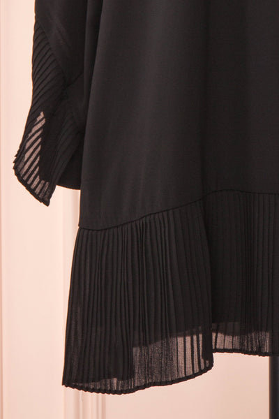 Anisha Black Wide Long Sleeve Dress w/ Frills | Boutique 1861 bottom