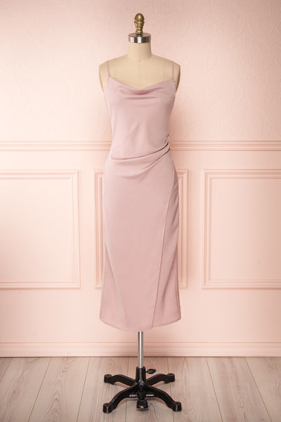 Anita Dusty Mauve Dress | Robe Mauve Cendré front view | Boutique 1861