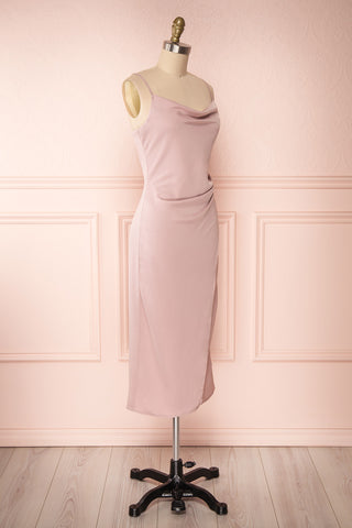 Anita Dusty Mauve Dress | Robe Mauve Cendré side view | Boutique 1861