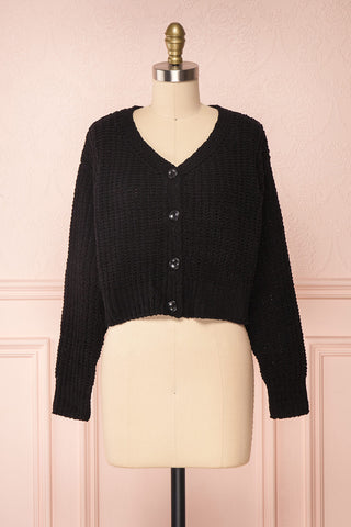 Anja Black Fuzzy Knit Button-Up Cardigan | Boutique 1861 front view