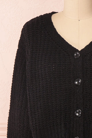 Anja Black Fuzzy Knit Button-Up Cardigan | Boutique 1861 front close-up