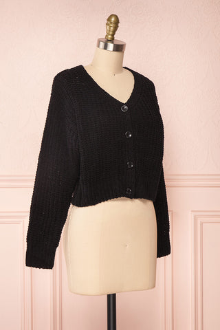Anja Black Fuzzy Knit Button-Up Cardigan | Boutique 1861 side view