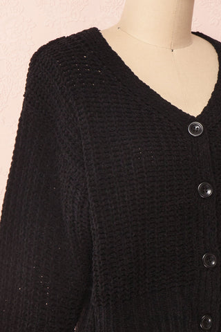 Anja Black Fuzzy Knit Button-Up Cardigan | Boutique 1861 side close-up
