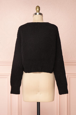 Anja Black Fuzzy Knit Button-Up Cardigan | Boutique 1861 back view
