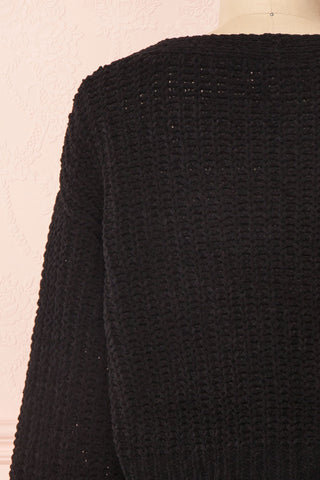 Anja Black Fuzzy Knit Button-Up Cardigan | Boutique 1861 back close-up