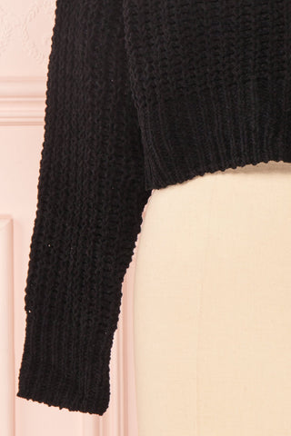 Anja Black Fuzzy Knit Button-Up Cardigan | Boutique 1861 bottom close-up