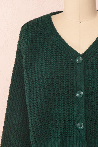 Anja Green Fuzzy Knit Button-Up Cardigan | Boutique 1861 front close-up