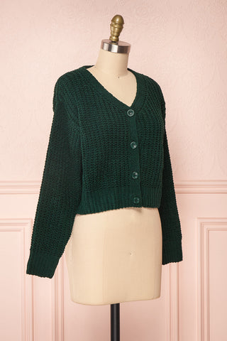 Anja Green Fuzzy Knit Button-Up Cardigan | Boutique 1861 side view