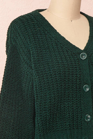 Anja Green Fuzzy Knit Button-Up Cardigan | Boutique 1861 side close-up