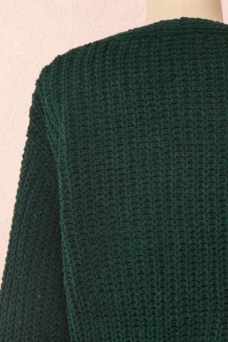 Anja Green Fuzzy Knit Button-Up Cardigan | Boutique 1861 back close-up