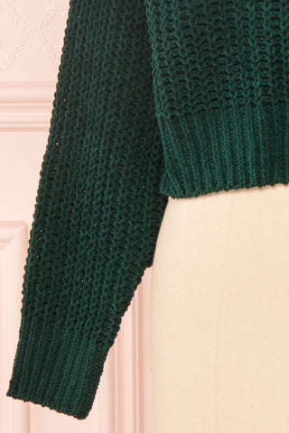 Anja Green Fuzzy Knit Button-Up Cardigan | Boutique 1861 bottom close-up