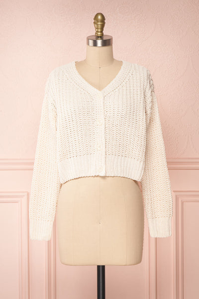 Anja Ivory Fuzzy Knit Button-Up Cardigan | Boutique 1861 front view