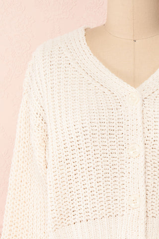 Anja Ivory Fuzzy Knit Button-Up Cardigan | Boutique 1861 front close-up