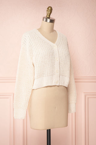 Anja Ivory Fuzzy Knit Button-Up Cardigan | Boutique 1861 side view