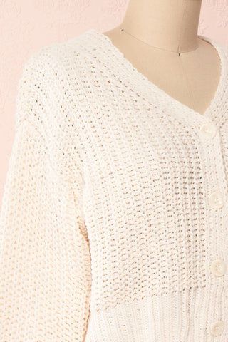 Anja Ivory Fuzzy Knit Button-Up Cardigan | Boutique 1861 side close-up