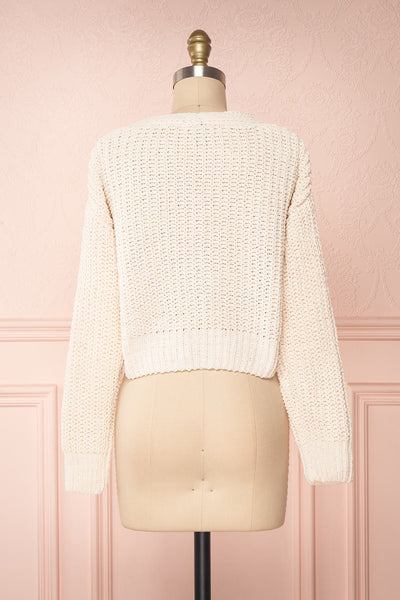 Anja Ivory Fuzzy Knit Button-Up Cardigan | Boutique 1861 back view